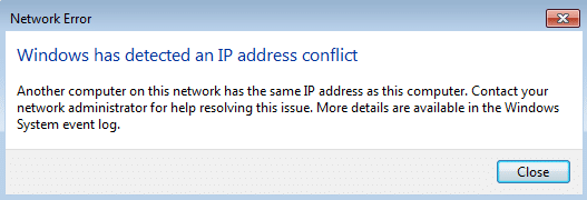 Fix Windows has detected an IP address conflict